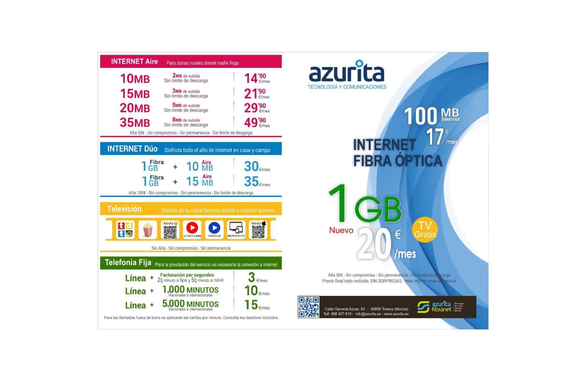 tarifas internet octubre 2021